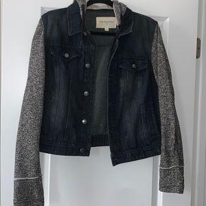 Thread & Supply Jean Jacket with Sweatshirt Sleeve